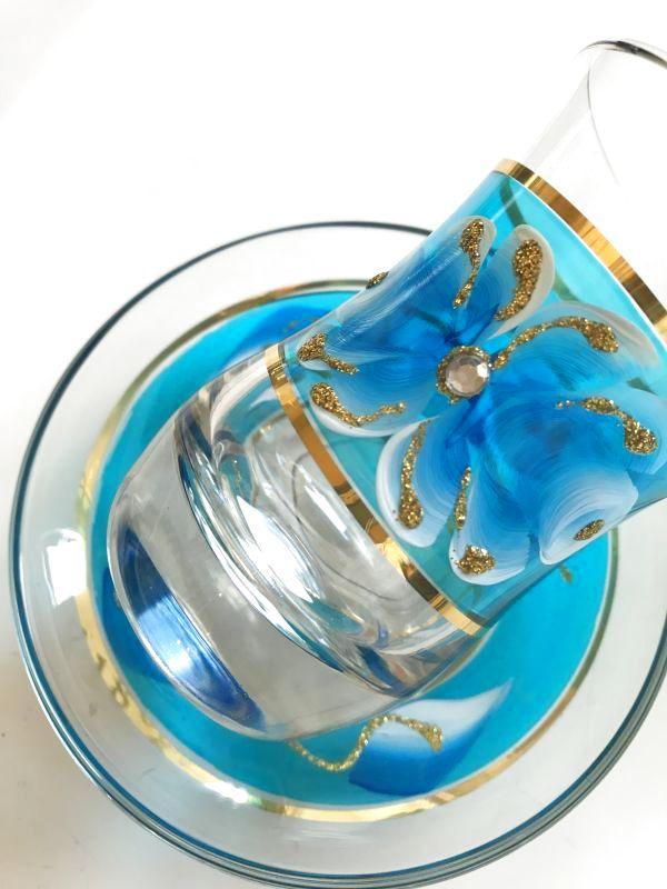 画像4: 手描き お花柄 チャイグラス&ソーサー
