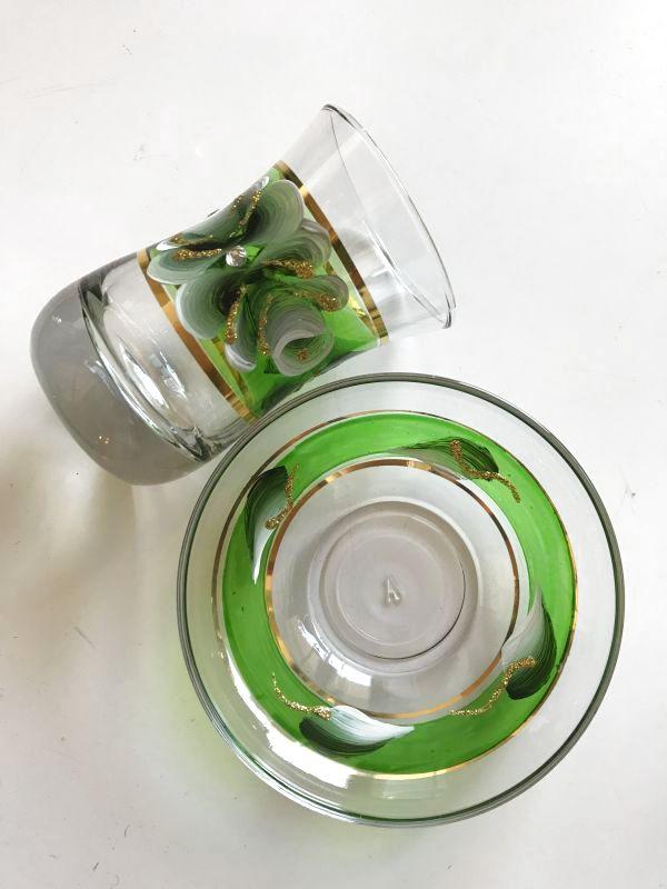 画像3: 手描き お花柄 チャイグラス&ソーサー