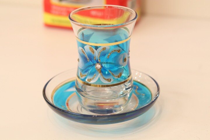 画像1: 手描き お花柄 チャイグラス&ソーサー