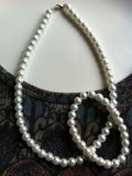 パール風ホワイトビーズのネックレス&ブレスレット2点セットで!
