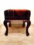画像2: 手織り キリムの木製椅子 オットマン (2)