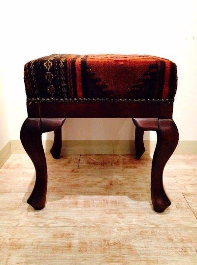 画像2: 手織り キリムの木製椅子 オットマン