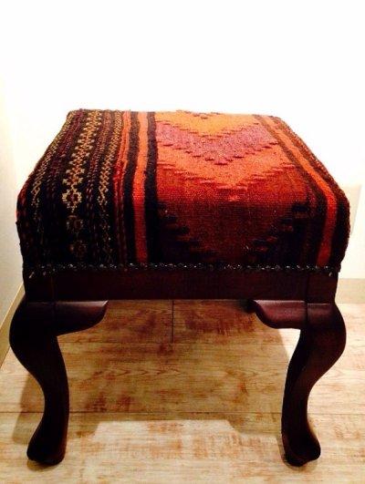 画像1: 手織り キリムの木製椅子 オットマン