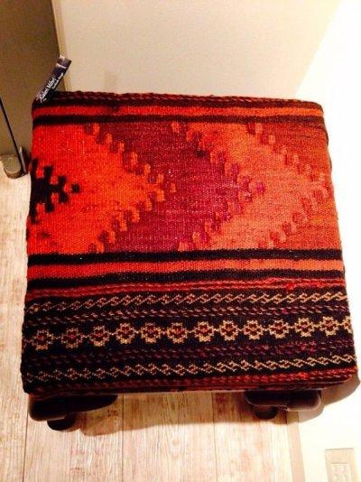 画像4: 手織り キリムの木製椅子 オットマン