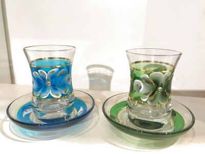 画像5: 手描き お花柄 チャイグラス&ソーサー